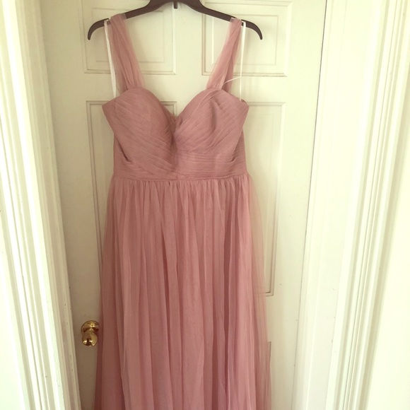 0f6a02fcb94 Tulle and Chantilly dusty rose bridesmaids dress
